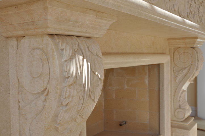 Marble Corbel and Mantel - Fireplaces - Cream Marble - Hand Carved ...