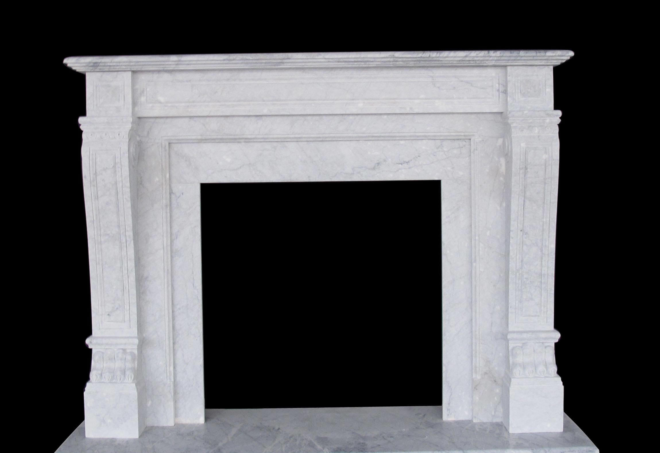 Italian Regal Marble Fireplaces Sale - Carrera White Mantels